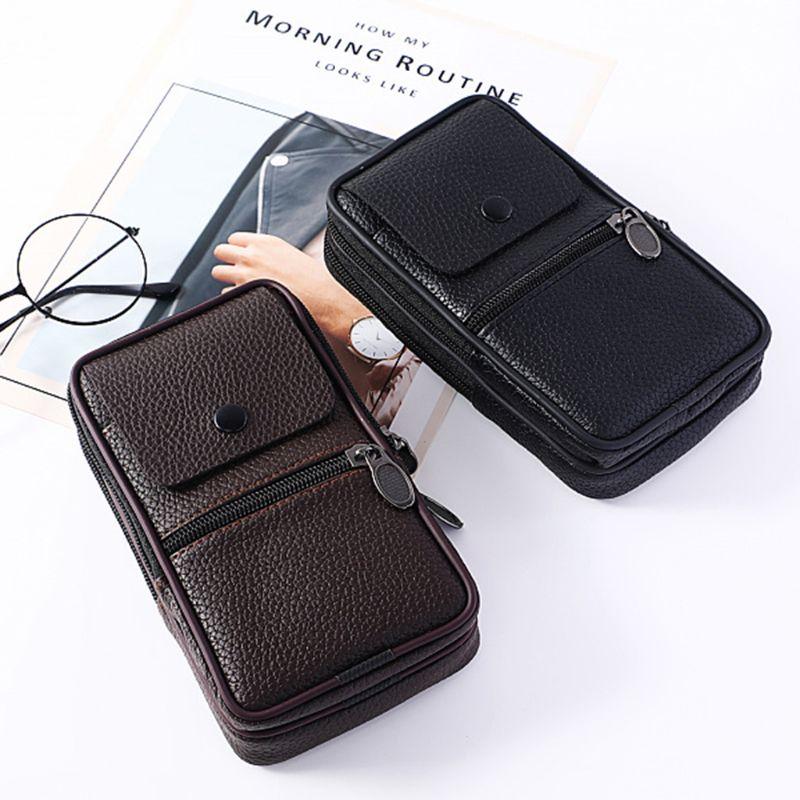 Outdoor Fashion Vertical PU Leather Men Waist Pack Portable Zip Coin Purse Phone Bag