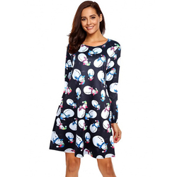 S-5XL Plus Size Christmas Day O Neck Long Sleeve Deer Snow Man Print Dress Women Clothes Casual Loose Knee Length Party Dresses 5