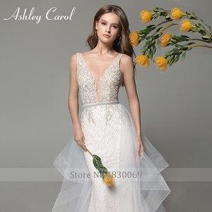 Image 3 - Ashley Carol Meerjungfrau Hochzeit Kleider 2020 Sexy V ausschnitt Spitze Luxus Perlen Abnehmbare Zug Braut Kleid Romantische Brautkleider