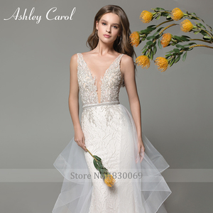 Image 3 - Ashley Carol Mermaid Wedding Dresses 2020 Sexy V neckline Lace Luxury Beaded Detachable Train Bride Dress Romantic Bridal Gowns