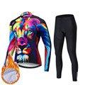 Зимняя Теплая Флисовая велосипедная одежда с 3D принтом  Мужская одежда для велоспорта MTB  комплект Джерси с длинным рукавом  одежда для вело...