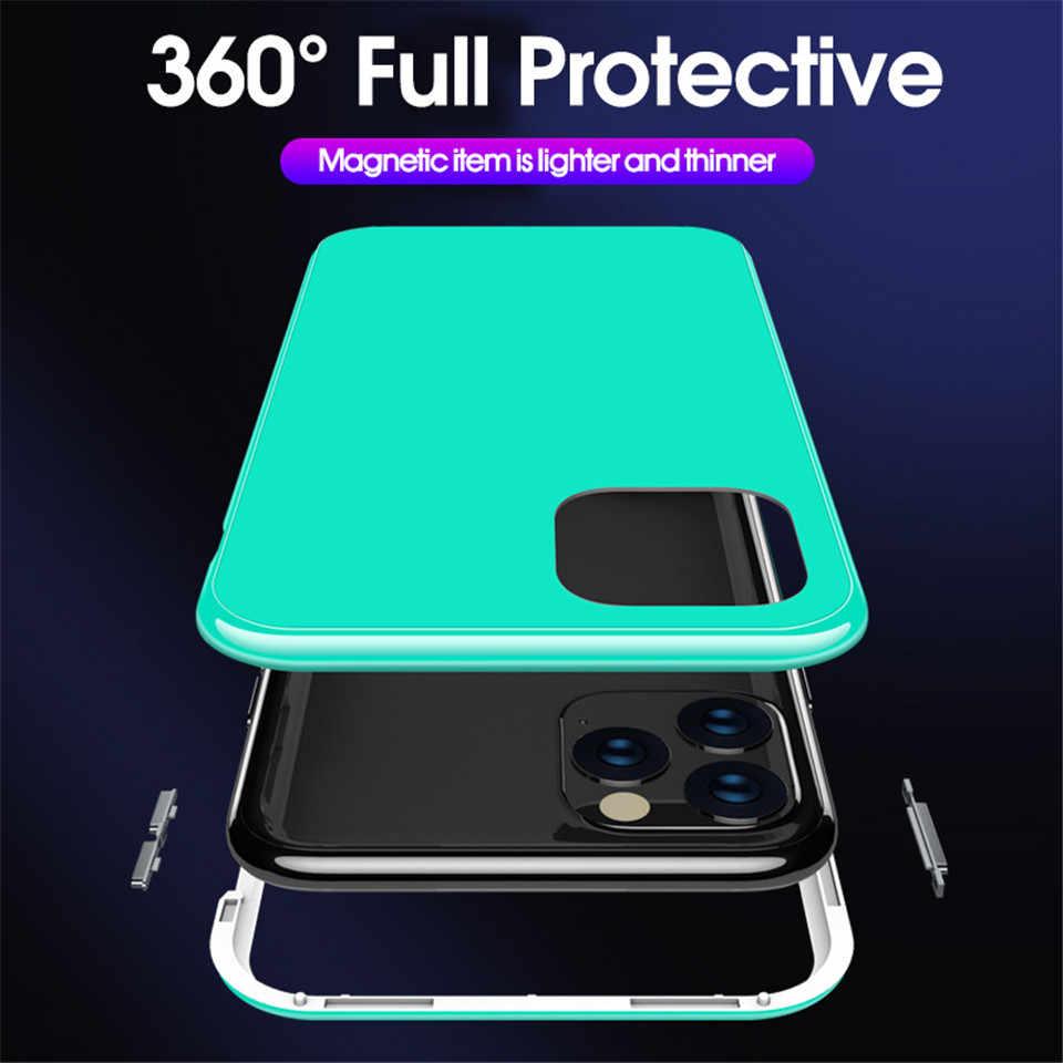 كاندي اللون المغناطيسي الامتزاز 360 حقيبة لهاتف أي فون 11 برو ماكس 2019 الزجاج المقسى حقيبة لهاتف أي فون XS ماكس XR X 7 8 Plus