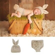 новорожденный + фотография + реквизит + кролик + вязаный крючком + ребенок + одежда + мальчик + аксессуары + девочка + мальчик + одежда + младенец + костюм + вязаный + наряд