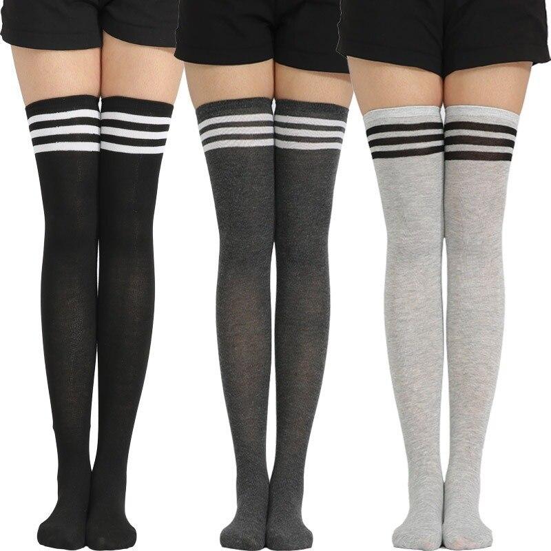 Sıcak satış çizgili çoraplar kadınlar komik yılbaşı hediyeleri seksi uyluk yüksek naylon uzun çorap sevimli giyim diz çorap üzerinde