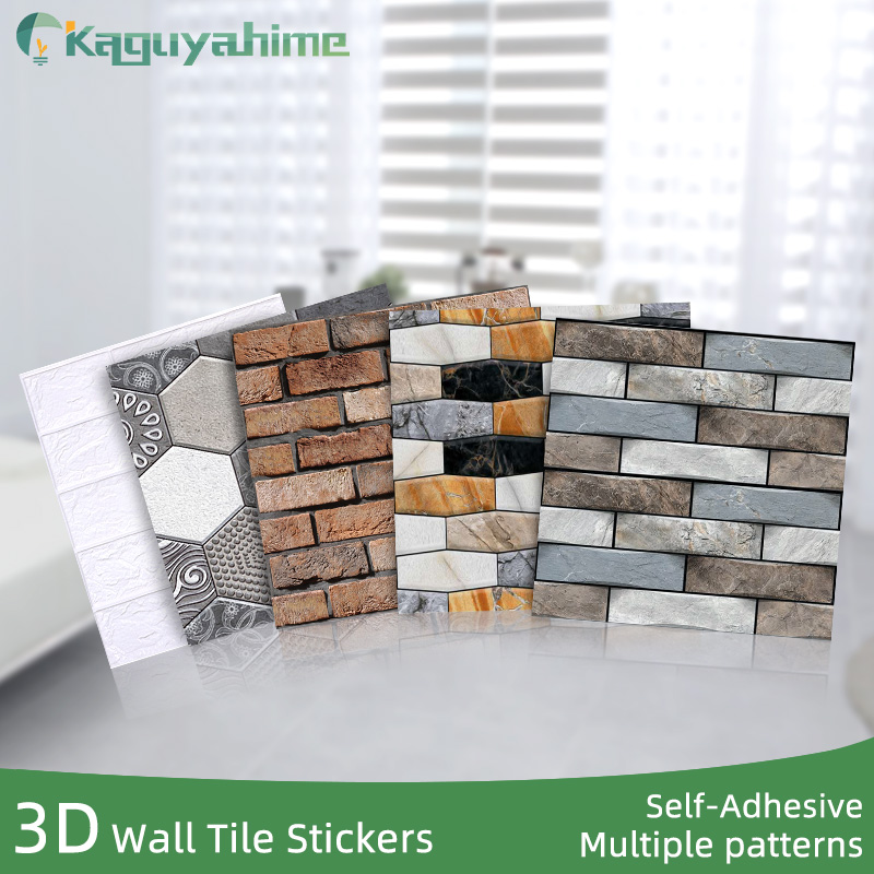 Kaguyahime 3D Self-Adhesive Wall Stickers Waterproof DIY Stone Pattern Wallpaper Brick Home Decor Wall Paper Living Room Sticker