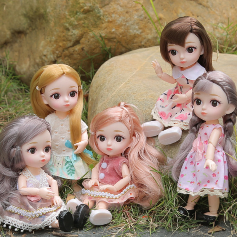 New Cute 16 Cm Doll 13 Moveable Jointed <font><b>1/8</b></font> Dolls Mini <font><b>BJD</b></font> Baby Pink Silver Hair Doll With Dress Fashion Toys For Girls Gift image