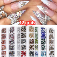 1 Box Multi Size Glass Rhinestones Mixed Colors Flat-back AB Crystal Strass 3D Charm Gems DIY Manicure Nail Art Decorations new style multi size glass nail rhinestones mixed colors flat back ab crystal strass 3d charm gems diy nail art decorations