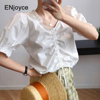 Top corto de verano Mujer Camiseta verde sólido cuello pico Puff manga corta encaje de algodón suelto Sexy blanco camiseta de playa coreana camisetas