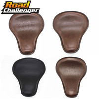 Motorcycle Black Brown PU Leather Solo Seat for Harley Custom Chopper Bobber Saddle Seat