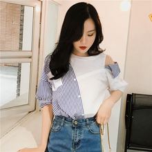 Stripe Shirts Women Tops 2019 Summer New Strapless shoulder Open Half Sleeve Blouses Shirt Blue Stripe Splice Cotton Shirt 922D new dew shoulder design clothes the horn sleeve beautiful stripe girls blouses
