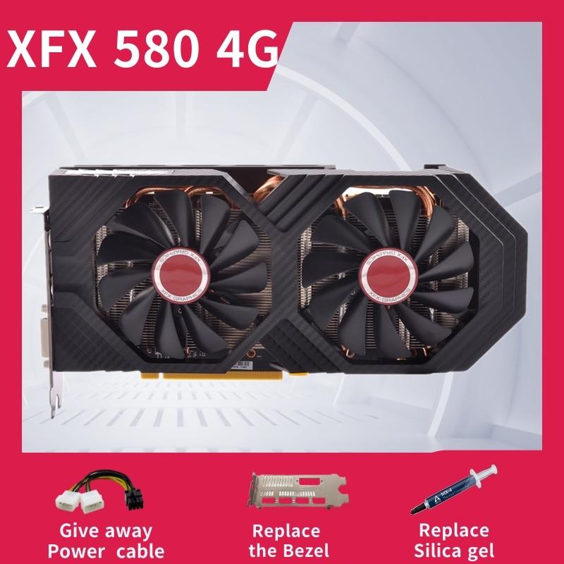 Xfx rx 580 4gb 256bit gddr5 desktop placa de vídeo placa de jogos para computador não mineração 580 4g usado
