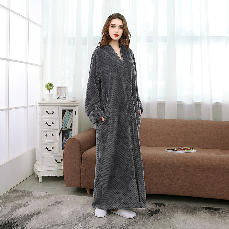 Pajamas Nightdress Robe Flannel Plus-Size Autumn/winter with Zipper Loose New-Fashion
