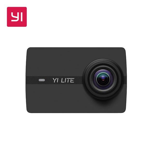 YI Lite экшн камера Sports 16MP настоящий 4K со встроенным WI FI 2 дюймов ЖК дисплей Экран 150 градусов Широкий формат линзы черного цвета