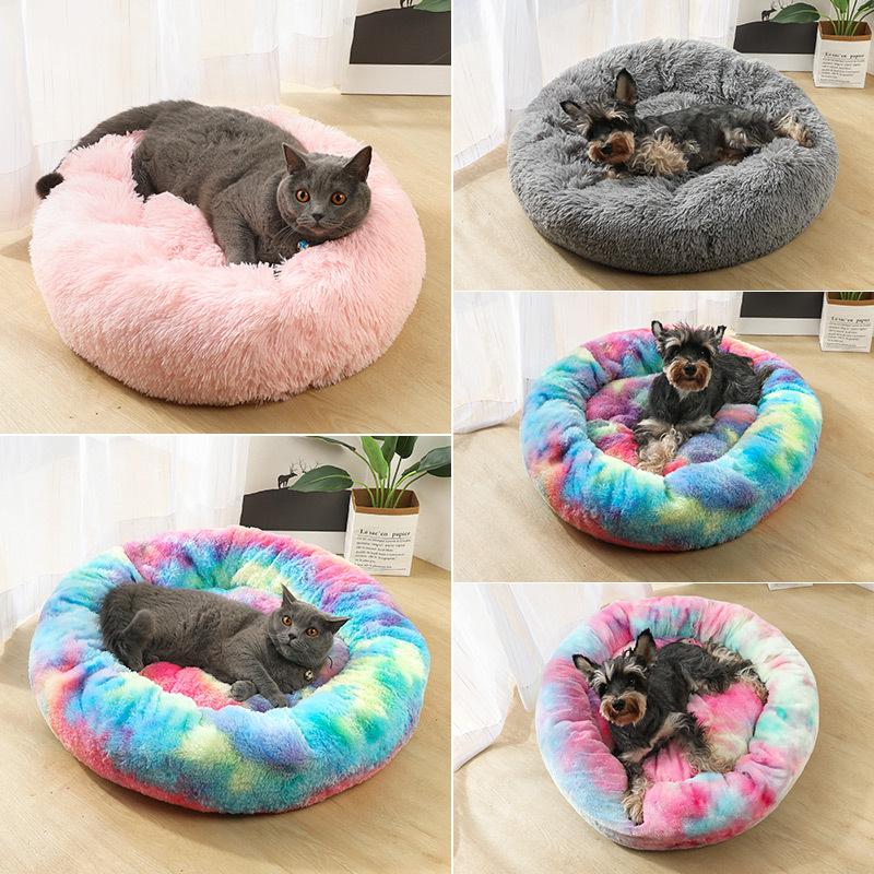 Pet Round Plush Cat Bed Matress Soft Plush Cat Mat Kennel For Cats Nest Winter Puppy Warm Sleeping Blanket Cat Portable Supplies