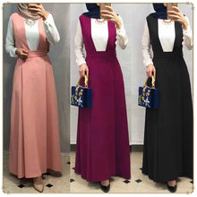WEPBEL Women Muslim Skirt Arab Middle East Solid Fashion Abaya Plus Size Loose Big Swing Strap Long Skirt Islamic Clothing(China)