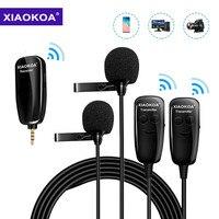 XIAOKOA-micrófono inalámbrico DUAL UHF Lavalier para grabación de solapa, Vlog, Youtube, entrevista en vivo para Iphone, Ipad, PC, Android, DSLR