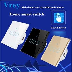 Vrey, европейский стандарт, сенсорный выключатель, прерыватель, сенсорный выключатель, 3 банды, 1 способ, AC110-220V, настенный выключатель, роскошн...