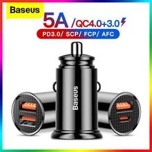 Baseus USB Auto Ladegerät Schnell Ladung 4,0 QC 4,0 QC 3,0 QC SCP 5A PD Typ C 30W Schnelle auto USB Ladegerät Für iPhone Xiaomi Handy