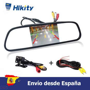 Podofo HD Video coche 4,3 TFT LCD Monitor de espejo retrovisor de coche visión nocturna CCD Cámara de visión trasera del coche