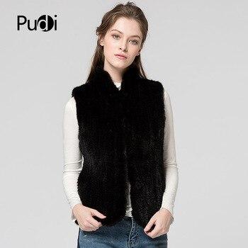 цена на Pudi VT7024 The new winter women's vests real mink fur vests jackets 2017 brand new genuine mink fur coats