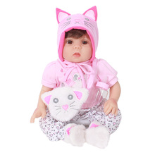 купить Fashion Girl Baby Reborn Doll 50CM  Lifelike Baby Reborn Soft Silicone Vinyl Vivid Girl Toy LOL Dolls Birthday Christmas Gift по цене 3495.26 рублей