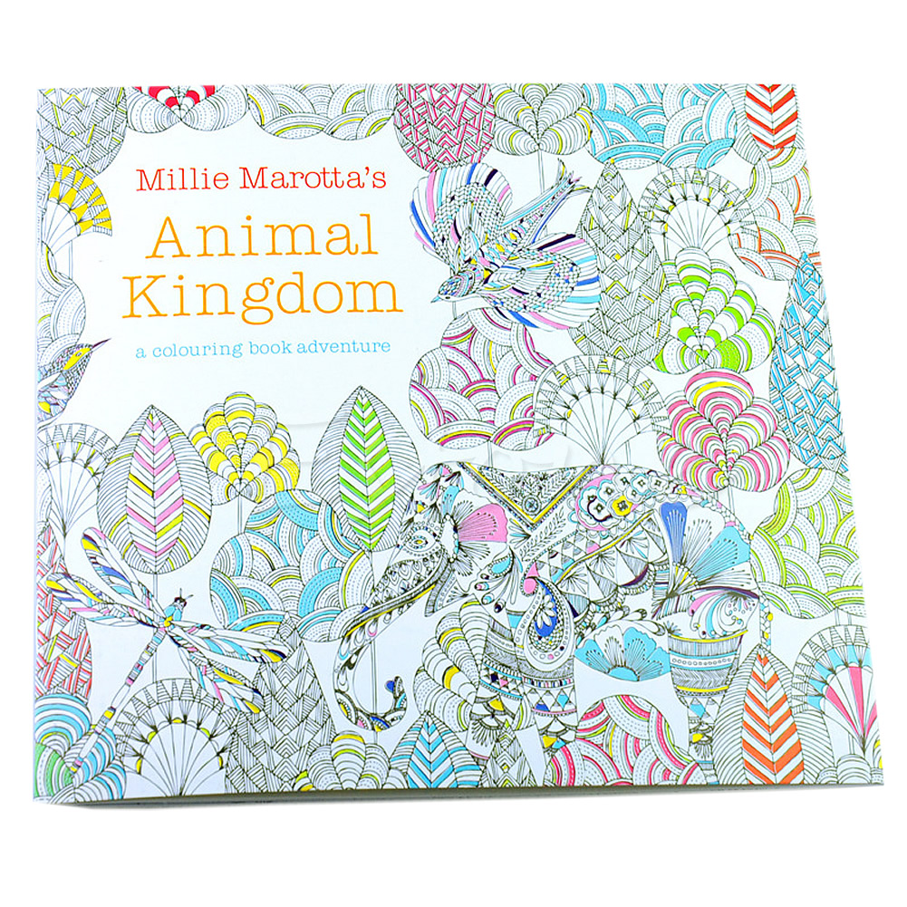 Newest Children Adult Animal Kingdom Treasure Hunt Coloring Painting Book X6HB