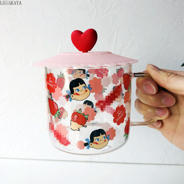 NEW Milky Cute Milk Girl Glass Heat-resistant Water Cup With Lid Cartoon Sailor Moon Strawberry Coffee Tea Mugs For Kids Gift 1