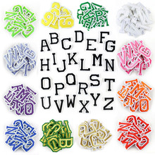 26Pcs/set A-Z Pink Gold English Alphabet Letter Patch Mixed Embroidered Iron on Kids Cartoon Patches for Clothes Stickers Badge