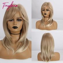 Perruque synthétique lisse à frange à épaules mi longues avec ombré brun blond mixte, résistante à la chaleur pour femmes