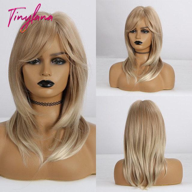 TINY LANA Shoulder Medium length hair ombre Brown blonde Mixed color Synthetic wig Straight With Bangs Heat Resistant for Women