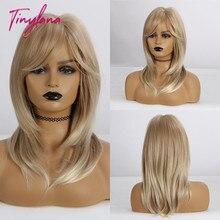 TINY Peluca de pelo sintético para mujer, pelo de longitud media, ombré, marrón, Rubio, color mezclado, liso con flequillo, resistente al calor