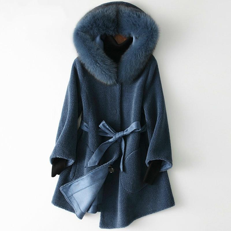 Real Fur Coat Fox Fur Collar Wool Jacket Autumn Winter Coat Women Clothes 2020 Korean Elegant Tops Suede Lining HQ19-ZZH18340C