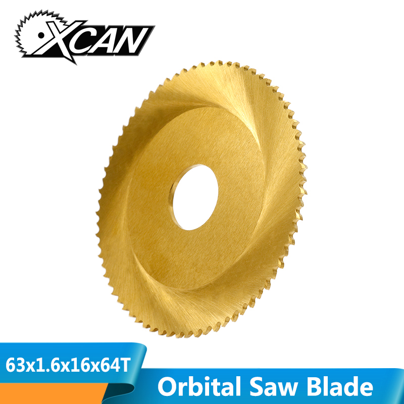 XCAN 1pc Diameter 63mm 64Teeth Tianium Coating Orbital Saw Blade Tube Cutting Saw Blade Pipe Cutting Saw Blade