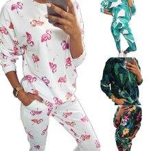 Conjunto de pijama de 2 piezas para mujer, ropa de dormir con patrones adorables de dibujos animados, manga larga, cuello redondo, Top suelto, pantalón corto elástico largo