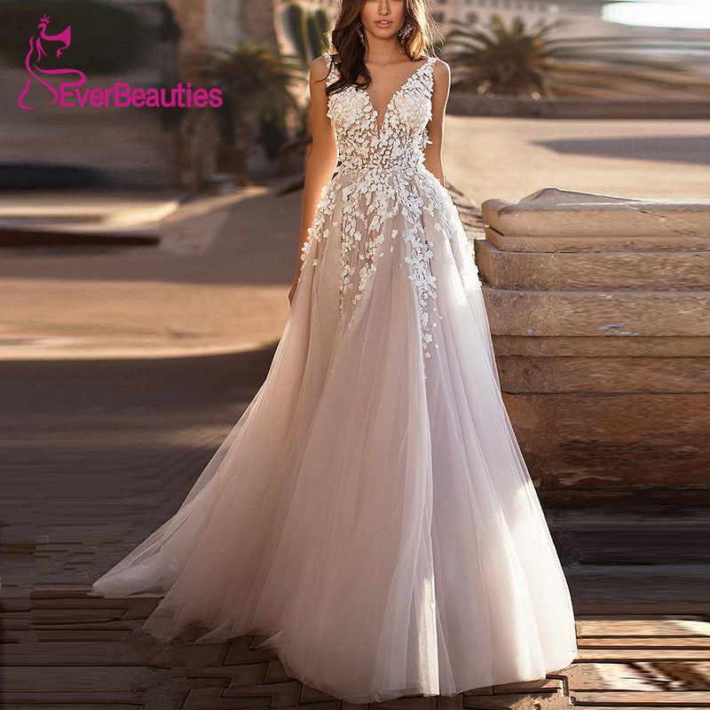 Praia Vestido de Noiva 2019 V-Neck A Linha de Tulle Apliques Luz Champagne Vestidos de Casamento Vestido de Noiva