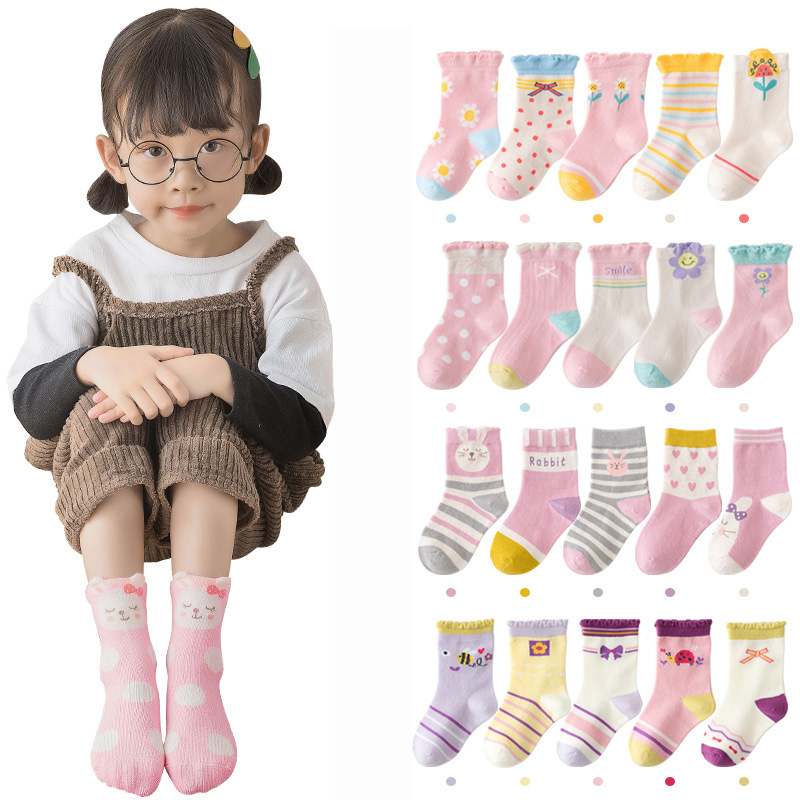 5 Pairs/lot Cute Cartoon Baby Girls Socks Winter Thicken Soft Kawaii Infant Toddler Socks Cotton Baby Boy Sports Socks for 1-12Y