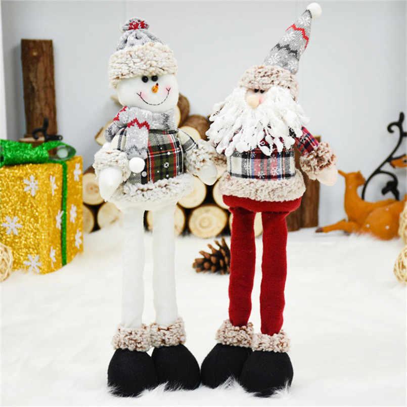 Santa Claus Snowman Rusa Boneka Selamat Natal Ornamen Ditarik Mainan Navidad Natal Tahun Baru Hadiah Natal Dekorasi untuk Rumah