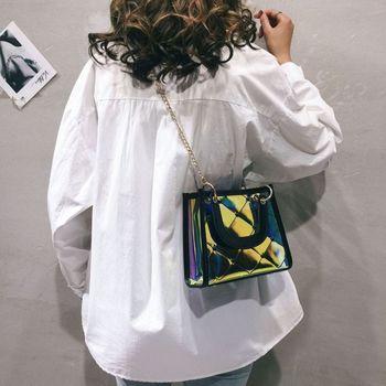 small bag women 2020  fashion laser PVC transparent bag  square purse  Princess Bag Fashion girls handbag student phone purse