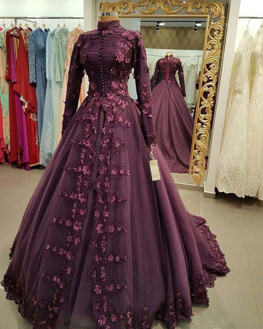 High Neck Modest   Evening     Dress   with Petals Long Sleeves Pageant Formal   Dress