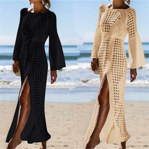 Image 2 - 2020 Crochet Tunic Beach Dress Cover ups Summer Women Beachwear Sexy Hollow Out Knitted Swimsuit Cover Up Robe de plage #Q716