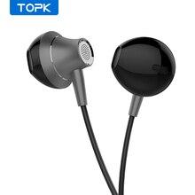 TOPK auriculares intrauditivos con cable de 3,5mm, auriculares universales de graves pesados con micrófono, auriculares estéreo deportivos cómodos con Control de volumen