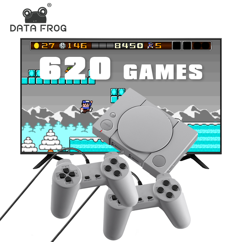 Data Frog Video Game Console Build In 620 Games Support AV Out  8 Bit Retro Video Console Dual Gamepad Support 2 Gaming Player