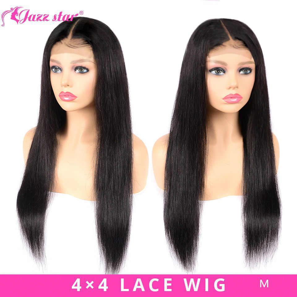 Brezilyalı 4*4 dantel kapatma peruk düz insan saçı peruk siyah kadınlar için olmayan Remy caz yıldız 150% yoğunluk dantel peruk bebek saç