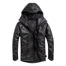 送料無料。プラスサイズ男性牛革ジャケット、メンズ本革の冬のコート。暖かい綿厚い革の服。