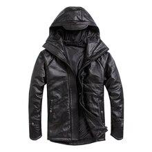Darmowa wysyłka. Plus rozmiar męska kurtka ze skóry wołowej, męski płaszcz zimowy z prawdziwej skóry. Ciepła bawełniana gruba skóra.