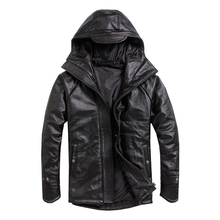 Free shipping.Plus size men cowhide Jacket,mens genuine Leather winter coat.warm cotton thick leather clothing.