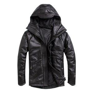 Image 1 - จัดส่งฟรี.PlusขนาดชายCowhideเสื้อ,ผู้ชายของแท้หนังฤดูหนาวCoatผ้าฝ้ายอุ่นหนาหนังเสื้อผ้า