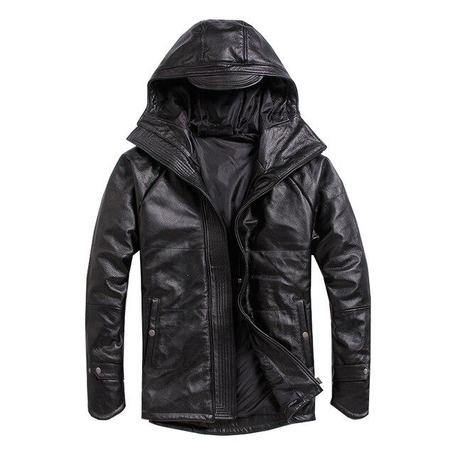 จัดส่งฟรี.PlusขนาดชายCowhideเสื้อ,ผู้ชายของแท้หนังฤดูหนาวCoatผ้าฝ้ายอุ่นหนาหนังเสื้อผ้า
