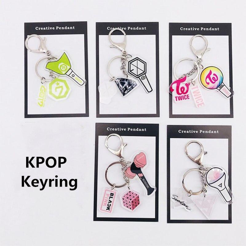 1Pcs KPOP Blackpink GOT7 Keyring EXO TWICE SEVENTEEN Keychain Accessories Key Chain Key Ring Cute Pendant Fan Supplies Gifts