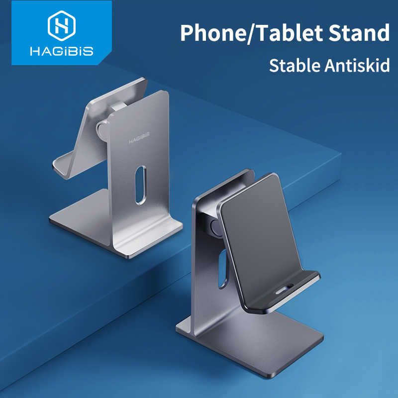 Hagibis Ponsel Holder Stand Tablet Stand Cell Phone Meja Portable Aluminium Adjustable Pemegang untuk iPhone iPad Pro Samsung